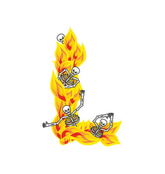 Letter l hellish flames and sinners font fiery vector