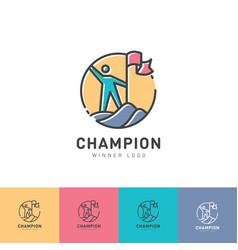 Logo champion winner man flag mountain vector