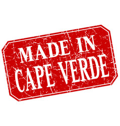 Made in cape verde red square grunge stamp vector