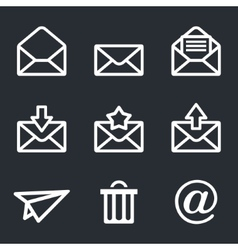 Mail icons set envelope plane shopping and other vector