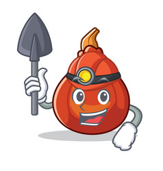 Miner red kuri squash mascot cartoon vector