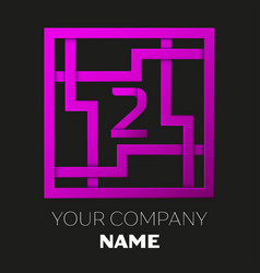 Number two logo in colorful square maze vector