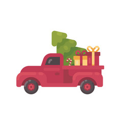 Old red truck with christmas tree and presents vector