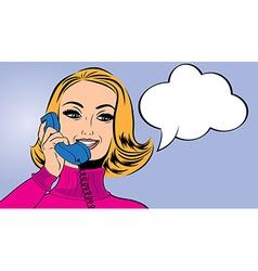 pop art cute retro woman in comics style talking vector image vector image