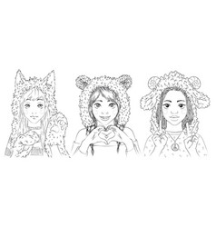 portraits of cute young girls in animal hats vector image vector image