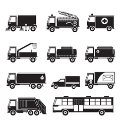 Public utility vehicles object silhouette set vector