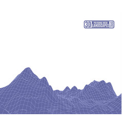 purple polygonal mountains from a grid on a white vector image vector image
