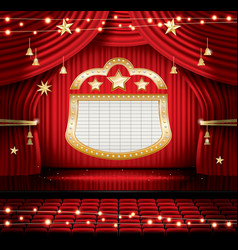 red stage curtain with seats and spotlights vector image vector image