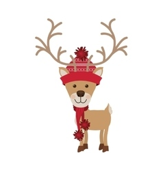 Reindeer with christmas woolen hat red vector