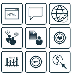 Set of 9 marketing icons includes report keyword vector
