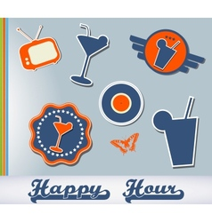 Set of different cocktail stickers vector image vector image