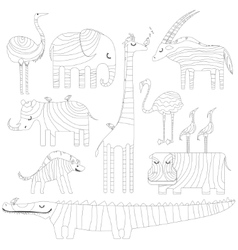 Some african animals in dreamtime Picture for vector image