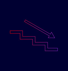 Stair down with arrow line icon with vector
