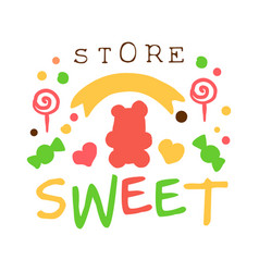 Sweet store logo colorful hand drawn label vector