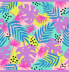 Trendy tropical leaves seamless pattern vector