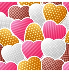 Valentine seamless pattern of heart stickers vector image