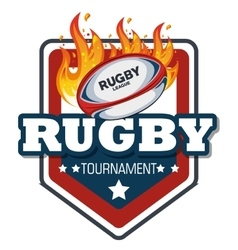 Rugby label ball with flames design vector