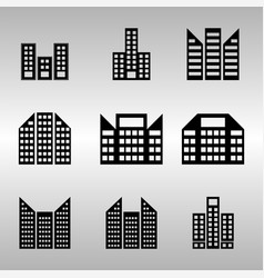 several of building icons set vector image