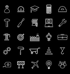 Engineering line icons on black background vector