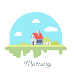 Beautiful of house with chimney and fence on vector