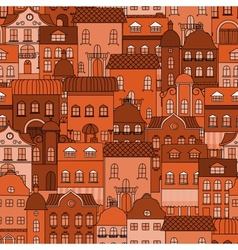 Seamless pattern with old town vector