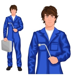 Young man mechanic vector