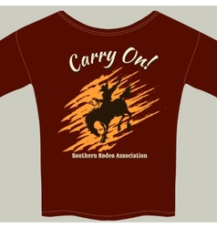 Tee shirt with cowboy riding horse rodeo graphic vector