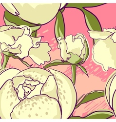 Seamless floral background with peonies vector