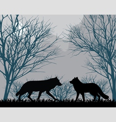 Forest wolves vector