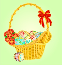 Easter wicker and easter eggs whit flowers vector