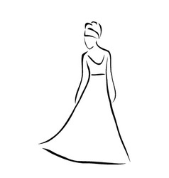 Bride with an elegant hairstyle vector