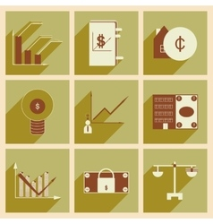 Flat with shadow concept stylish finance icons vector