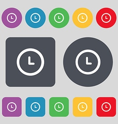 Alarm icon sign a set of 12 colored buttons flat vector