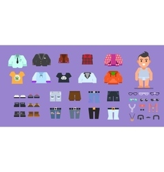 Clothes for man wardrobe stock flat vector