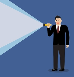 Businessman holding flashlight vector image