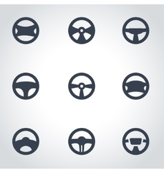 Black steering wheels icon set vector