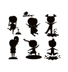 Summer kids black silhouette vector