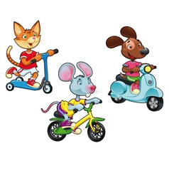 Animals on vehicles vector