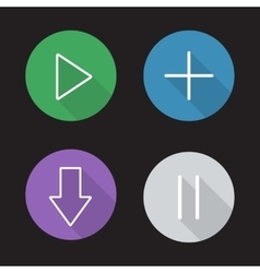 Audio player control panel flat linear icons set vector