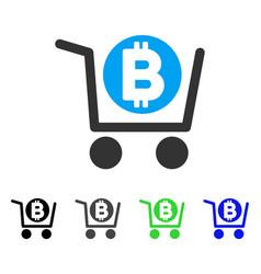Bitcoin shopping cart flat icon vector