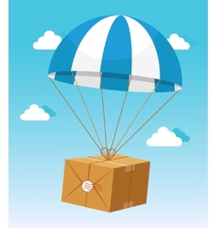 Blue and White Parachute Holding Delivery Box vector image