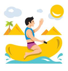 bot ride a banana boat flat style colorful vector image vector image