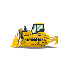 Bulldozer tracked vehicles tractor yellow vector