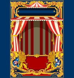 Carnival poster with circus tent vector