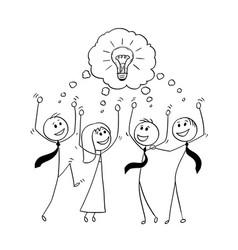 Cartoon of business team celebrating successful vector