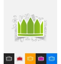 Crown paper sticker with hand drawn elements vector