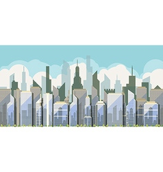 Daytime view of the city with skyscrapers vector