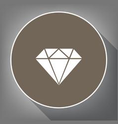 diamond sign white icon on vector image