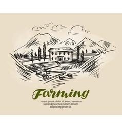 Farm sketch Farming agriculture vector image