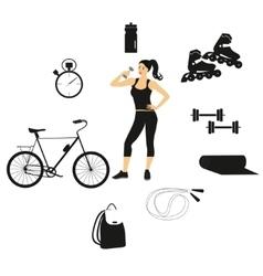 Fitness women set vector